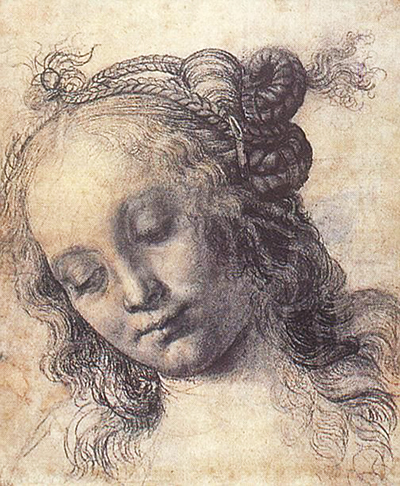 Head of a Woman with an Elaborate Hairstyle Andrea del Verrocchio