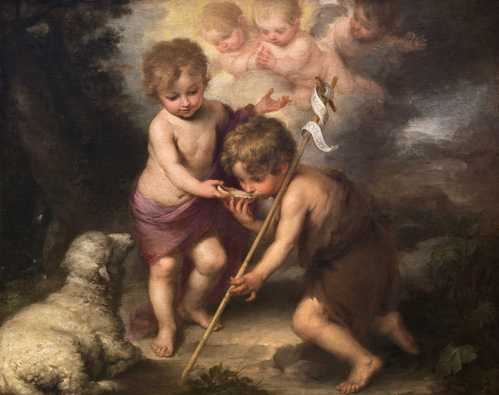 The Holy Children with a Shell in Detail Bartolome Esteban Murillo