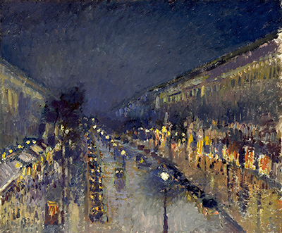 The Boulevard Montmartre at Night Camille Pissarro